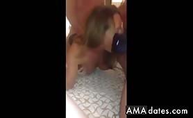 Gangbanging una bionda senza sella (girato su un telefono)